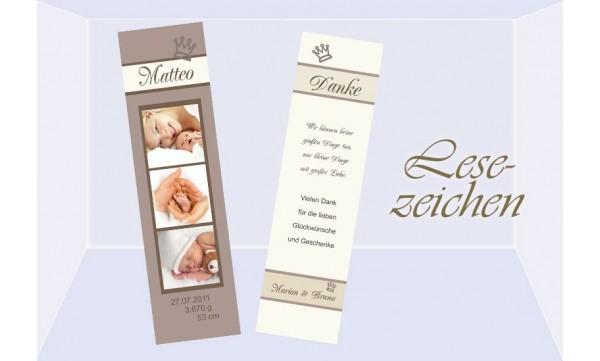 Lesezeichen zur Geburt, 5x20 cm, braun