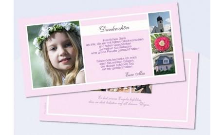 Danksagungskarte Konfirmation Kommunion, rosa