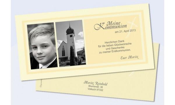 Danksagungskarte Konfirmation Kommunion, gelb
