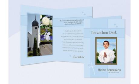 Danksagung Kommunion / Konfirmation, Klappkarte, blau