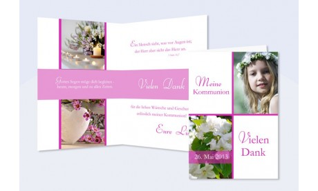 Danksagung Kommunion / Konfirmation, Klappkarte, pink