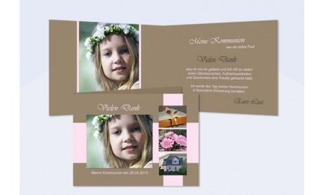Danksagung Kommunion / Konfirmation, Klappkarte, braun, rosa
