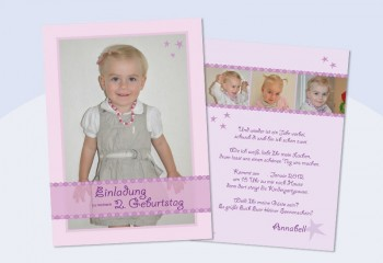 Einladungskarte Kindergeburtstag, Flachkarte A6 in rosa