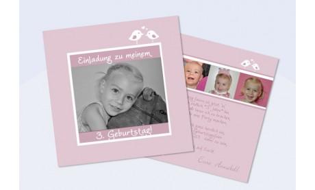 Einladung zum Kindergeburtstag, Flachkarte 12,5x12,5 cm, rosa