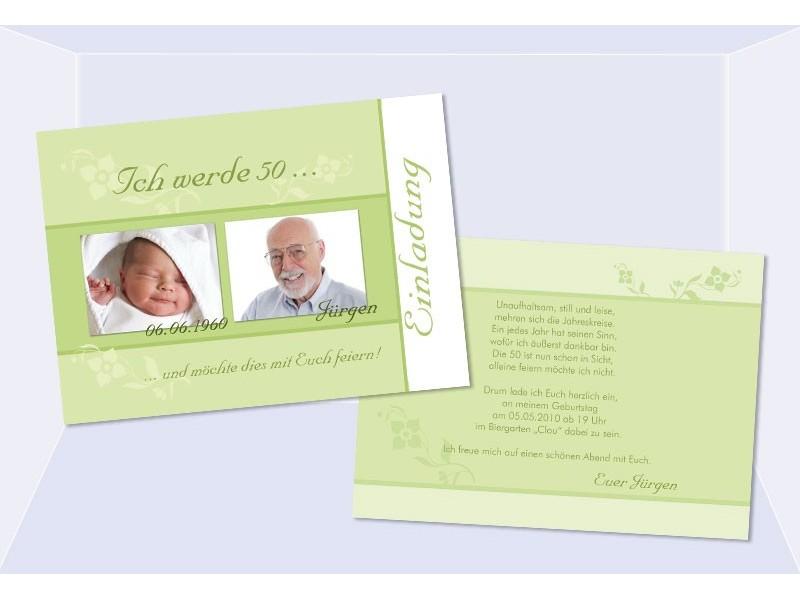 Einladungskarte Runder Geburtstag, Flachkarte In Grün