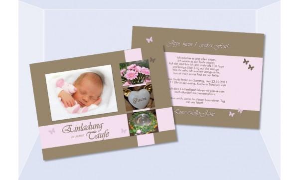 Einladungskarte zur Taufe in braun, rosa, Flachkarte