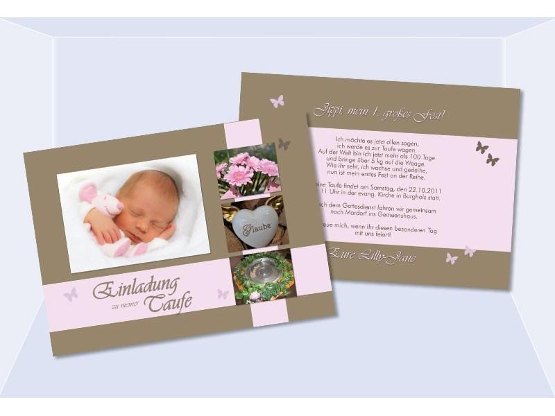 Einladungskarten Taufe Einladungskarten Taufe Zum: Einladungskarten Taufe In Braun, Rosa