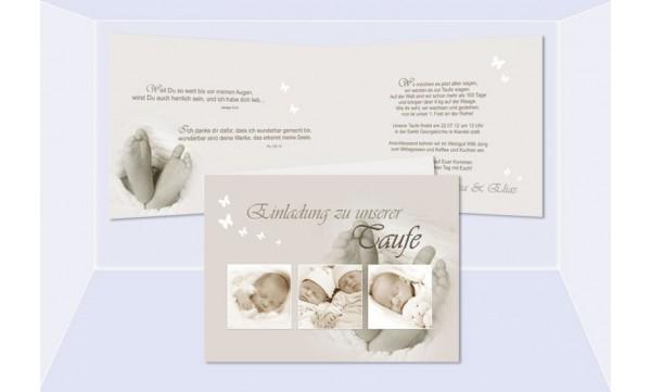 Karte Taufe Einladung.Einladung Zur Taufe Klappkarte In Creme