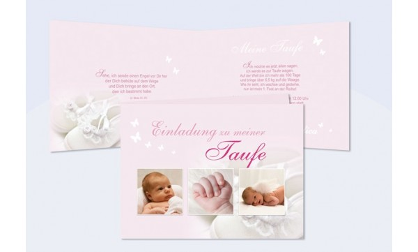 Karte Taufe Einladung.Taufe Einladung Einladungskarte Klappkarte In Rosa