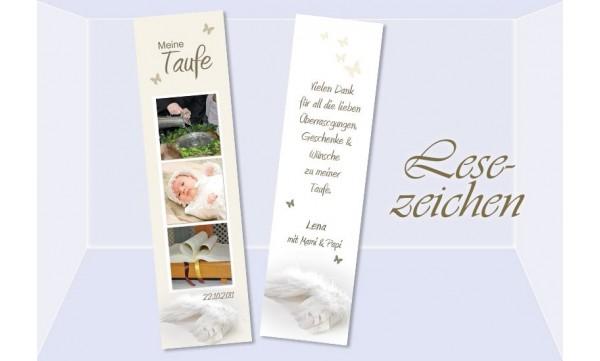 Lesezeichen Danksagung Taufe, 5x20 cm in creme