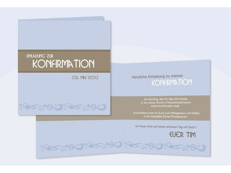 Einladung Kommunion / Konfirmation, Klappkarte Quadrat, Blau