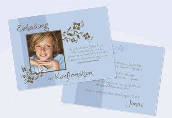 Einladungskarte Konfirmation Kommunion Flachkarte A6 blau