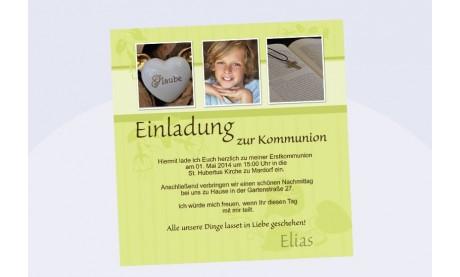 Einladung Kommunion / Konfirmation, Fotokarte 12,5x12,5 cm, grün