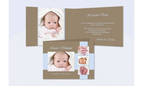 "Geburtskarte ""Lara Stern"" Klappkarte A6, braun rosa"