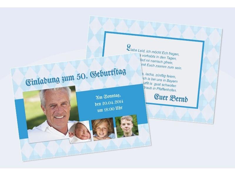 Schön Einladungskarte Runder Geburtstag, Flachkarte In Grün