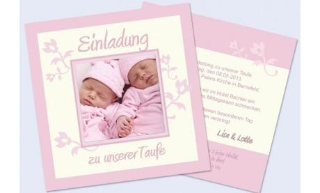 """Einladung Taufe """"Twins"""", Taufeinladung, creme rosa"""