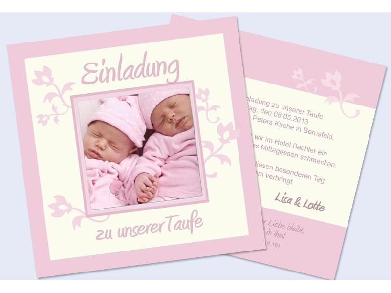 Einladung Taufe Taufeinladung Fotokarte Einladungskarten Twins
