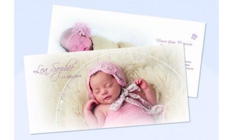 """Danksagungskarte zur Geburt, """"Knöpfchen"""" in rosa"""
