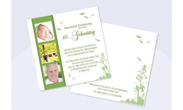 Einladung 60. Geburtstag, Flachkarte 12,5x12,5 cm, rosa pink