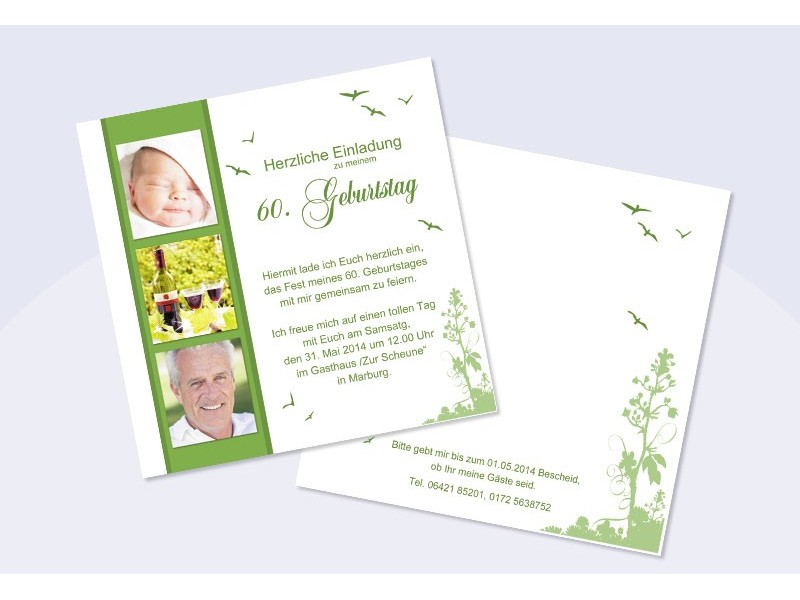 Einladung 60. Geburtstag, Flachkarte 12,5x12,5 Cm, Rosa Pink ...