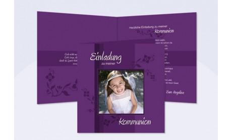 Einladung Kommunion / Konfirmation, Klappkarte 12,5x12,5 cm, beere