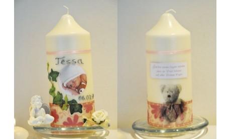 Taufkerze für Ihr Baby mit Foto und Taufspruch, Wachskreation, rosa