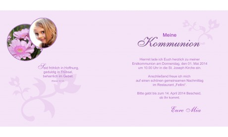 Einladung Kommunion / Konfirmation, Klappkarte 12,5x12,5 cm, rosa weiß
