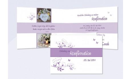 Einladung Kommunion / Konfirmation, Klappkarte, flieder