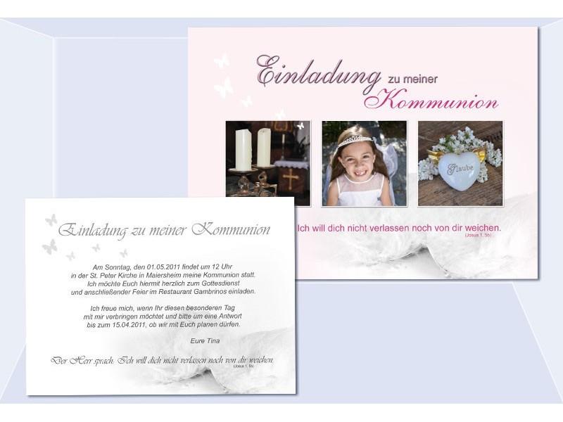 Einladung Kommunion / Konfirmation, Postkarte 10x15 Cm, Rosa