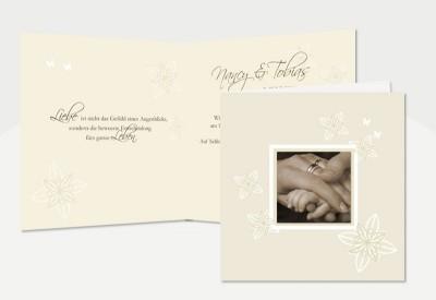 Großartig Einladungskarte Hochzeit, Klappkarte Quadrat, Creme