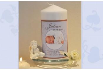 Taufkerze für Ihr Baby mit Foto und Taufspruch, Fotogestaltung, hellblau