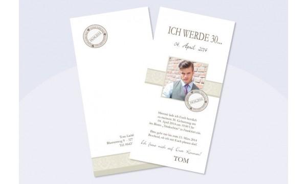 """Karte Geburtstag Einladungskarte DIN Lang """"Caro"""" in taube"""