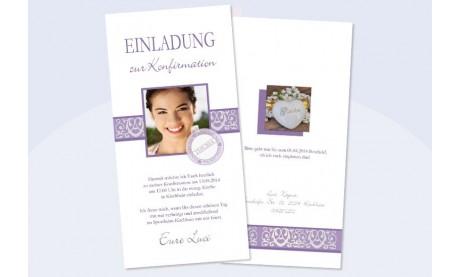 Einladungskarte Konfirmation / Kommunion in flieder
