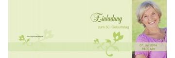 Einladung 50. Geburtstag, Klappkarte 10x15 cm, grün