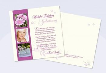 Einladungskarte 60. Geburtstag, zweiseitig, creme pink