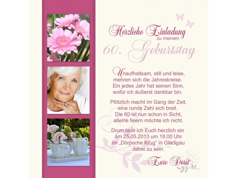 Einladungskarte 60. Geburtstag, zweiseitig creme pink