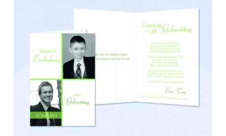 Einladung Geburtstag, Klappkarte 10x15 cm, weiß grün