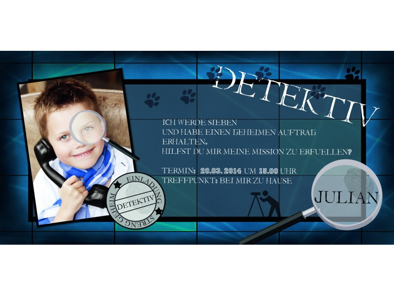 Einladung Kinder-Geburtstag Detektiv