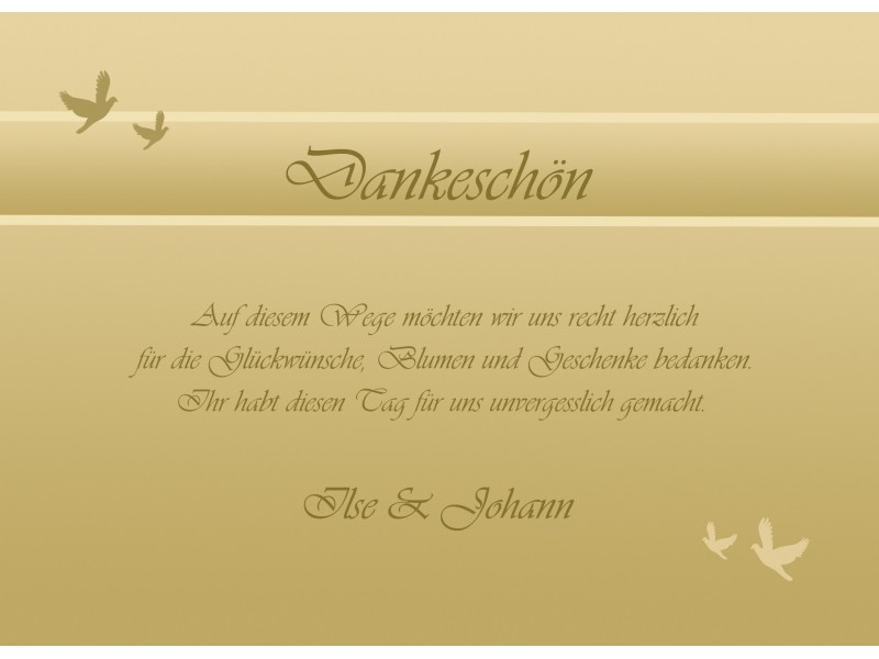 Danksagungskarten Hochzeit, Silberhochzeit, Goldhochzeit, Karten, Danksagung, Karten, gold