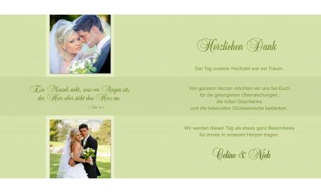 """Danksagungskarte Hochzeit """"Celine&Nick"""" Quadrat, grün"""