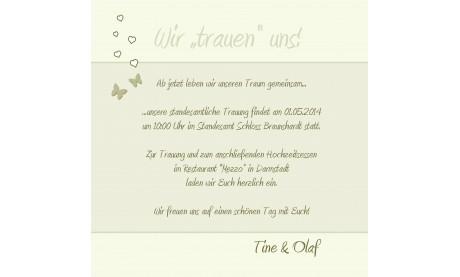 """Einladungskarte Hochzeit """"Schmetterling"""", Flachkarte 12,5x12,5 cm, creme"""