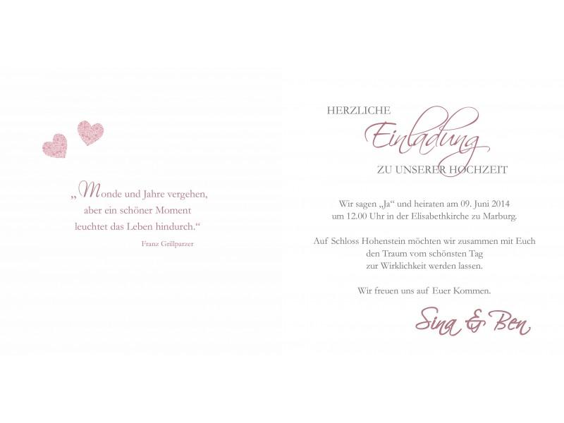Hochzeitskarte, Hochzeitseinladung, Einladung Hochzeit, Einladungskarten, Dielenoptik