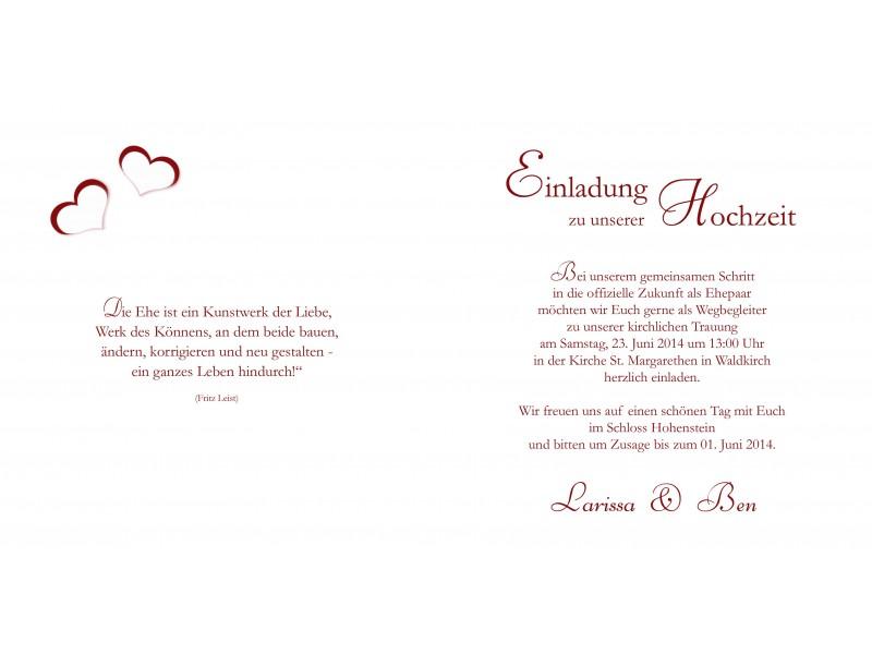 Hochzeitskarte, Hochzeitseinladung, Einladung Hochzeit, Einladungskarten, rot