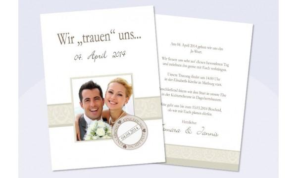 """Einladungskarte Hochzeit """"Ranken"""", Flachkarte , creme"""
