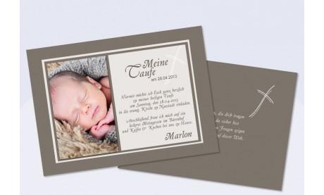 Einladungskarte zur Taufe in braun, Flachkarte