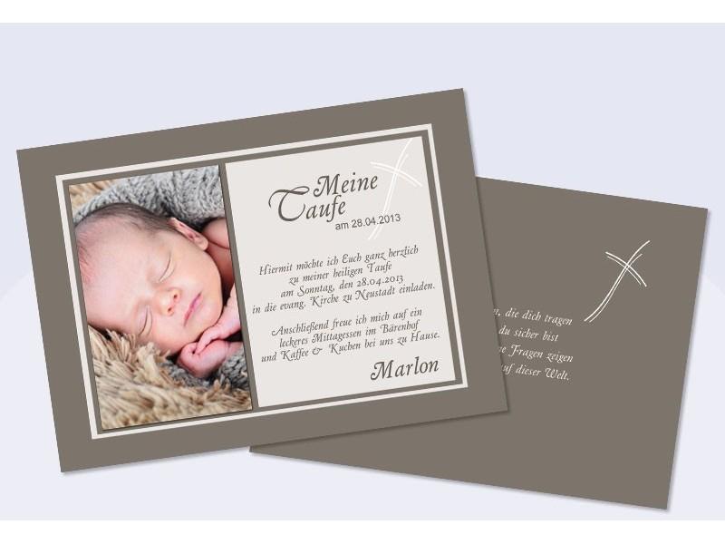 Einladungskarten Taufe in braun