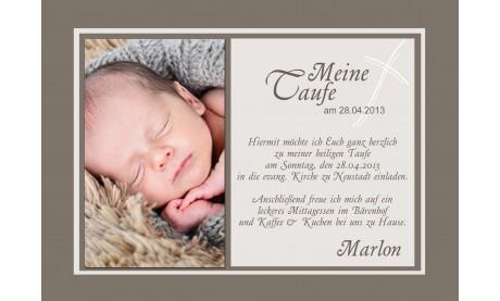 Einladungskarte Zur Taufe In Braun Flachkarte