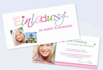 """Einladungskarte Konfirmation / Kommunion """"kindlich verspielt"""""""
