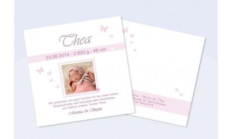 "Babykarte, Danksagung Geburt ""Thea"", rosa"