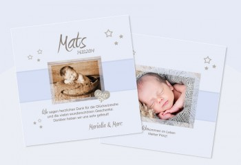 "Babykarte, Danksagung Geburt ""verträumter Bengel"", shabby chic"